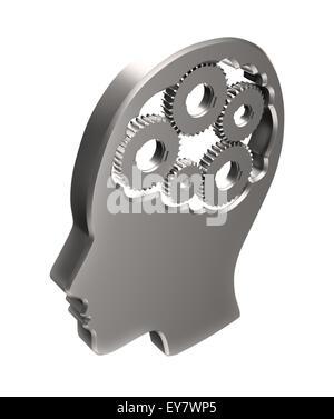 Zahnräder innerhalb einer menschlichen Kopf Outline - Gedächtnis und kognitive Funktionen Konzept illustration - Stockfoto