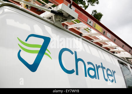 Ein Charter-Logo auf einem Kabel-TV Installation van, Charter Communications, Inc. in Onancock, Virginia am 18. - Stockfoto