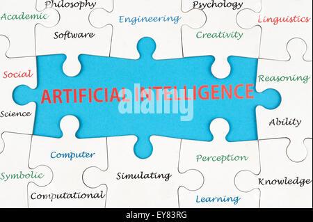 Künstliche Intelligenz Konzept Wortwolke auf Gruppe von Jigsaw Puzzle-Teile - Stockfoto