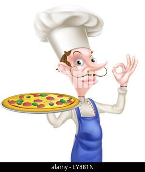 Zur Veranschaulichung der Karikatur Koch dabei eine perfekte oder Ordnung Zeichen und ein Tablett mit einer Pizza - Stockfoto