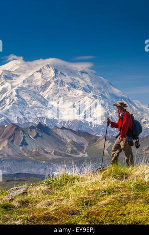 Wanderer auf einem Hügel vor Mt. McKinley und Muldrow Glacier, Denali National Park, innen Alaska, Sommer - Stockfoto
