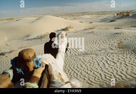 Blick vom Kamel während ein Kamelritt In die Wüste Sahara von Douz (Stadt am Rande der südlichen Tunesien), Tunesien. - Stockfoto