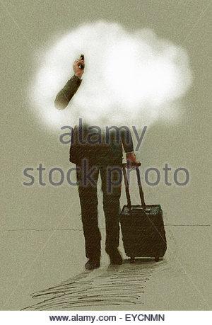 Geschäftsmann unterwegs mit Handy ziehen Koffer mit Kopf in den Wolken - Stockfoto