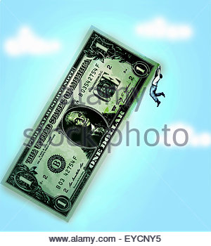 Das Festhalten an den Rand des großen eine Dollarnote Geschäftsmann - Stockfoto