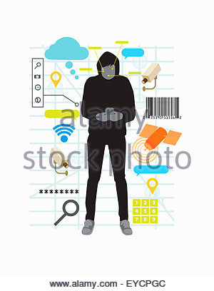 Teenager mit Smartphone umgeben von Sicherheits- und Überwachungsanwendungen montage - Stockfoto