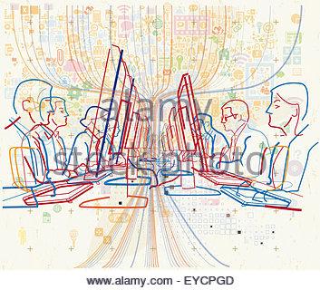 Reihen von Büroangestellten, die Arbeit am Computer mit Daten-streaming - Stockfoto