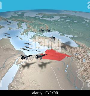 Nahen Osten, wie aus dem Weltraum gesehen. Angriff gegen Syrien, militärische Bewegungen - Stockfoto