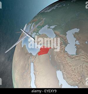 Nahen Osten, wie aus dem Weltraum gesehen. Luftangriffe gegen Syrien - Stockfoto
