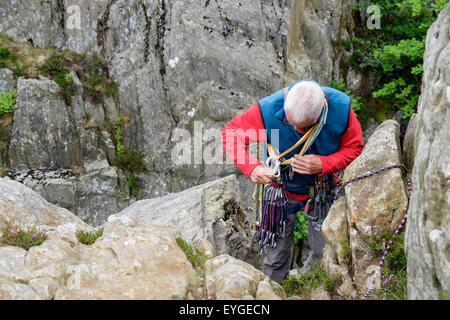 Klettergurt Englisch : Erfahrene kletterer vorbereitung zu klettern die einrichtung eines