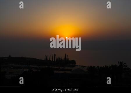 Sonnenaufgang über dem Meer von Galiläa, Israel - Stockfoto