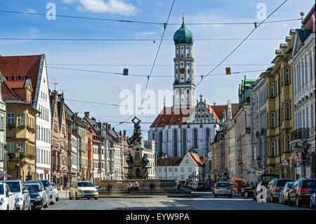 Sankt Ulrich und Afra Klosterkirche, Herkules-Brunnen, Maximilianstraße Straße, Augsburg, Schwaben, Bayern, Deutschland - Stockfoto