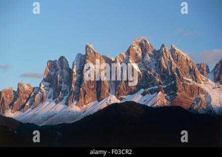 Geisler-Massivs, Naturpark Puez-Geisler, Dolomiten (UNESCO-Welterbe, 2009), Trentino-Alto Adige, Italien. - Stockfoto