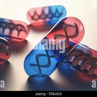 Tabletten mit genetischen Code im Inneren. Konzept des Fortschritts der Medizin bei der Behandlung von Krankheiten. - Stockfoto
