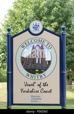 Whitby Verkehrszeichen in Whitby Yorkshire UK - Stockfoto
