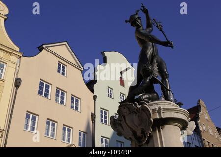 Quecksilber-Brunnen am Moritz Platz in Augsburg, Bayern, Deutschland - Stockfoto