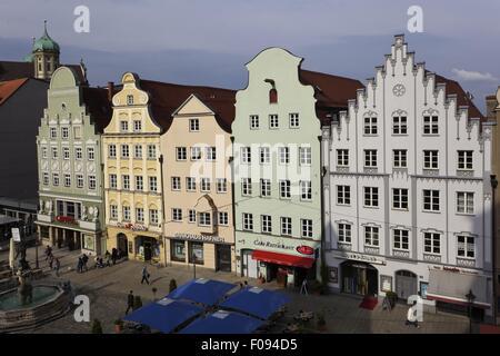 Giebelhäuser am Moritz Platz in Augsburg, Bayern, Deutschland - Stockfoto