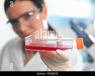 Weibliche Zellbiologe hält Kolben mit Stammzellen, kultiviert in roten Wachstumsmedium - Stockfoto