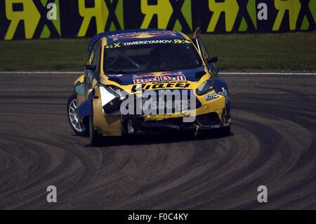Rallycross-Weltmeisterschaft 2015 in Lydden Hill Rennstrecke im Vereinigten Königreich, Redbull racing Ford Fiesta - Stockfoto