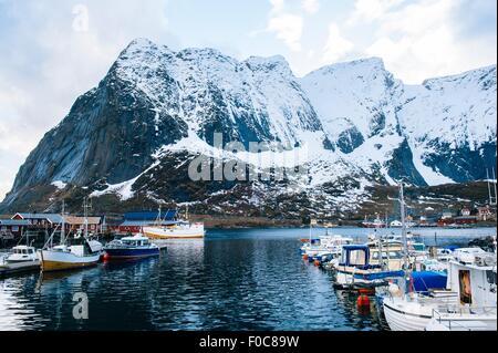 Angelboote/Fischerboote im Hafen, Reine, Lofoten, Norwegen - Stockfoto