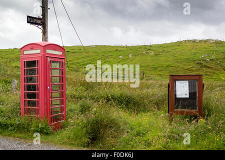 Altes Telefon Kiosk am Marvig Dorf Isle of Lewis Western Isles äußeren Hebriden Scotland UK - Stockfoto