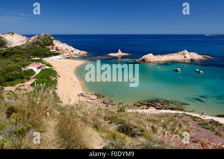 Cala Pregonda, in der Nähe von Fornells, Nordküste, Menorca, Balearen, Spanien, Europa - Stockfoto