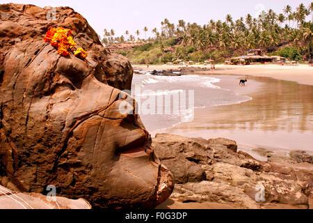 Shiva Felsen in Vagator Beach Goa Indien - Stockfoto