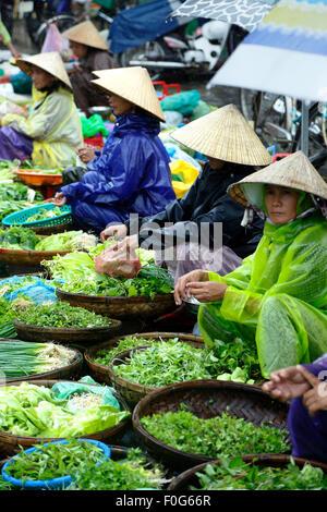 Reihe von Frauen verkaufen Grüns, Central Market, Hoi an, Vietnam - Stockfoto