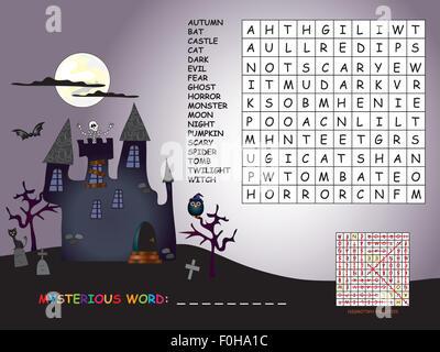 Spiel für Kinder: finden Sie alle Wörter (horizontal, vertikal und ...