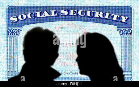 Karte, paar, Absolventen, Sicherheit, Soziales, USA konzeptionellen - Stockfoto