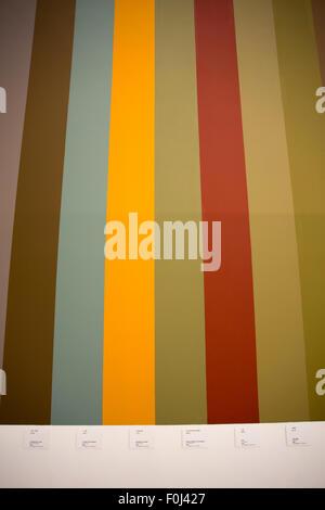 Verschiedene Linien Farben an der Wand. Detail einer Ausstellung im Nanshi Kraftwerk. - Stockfoto