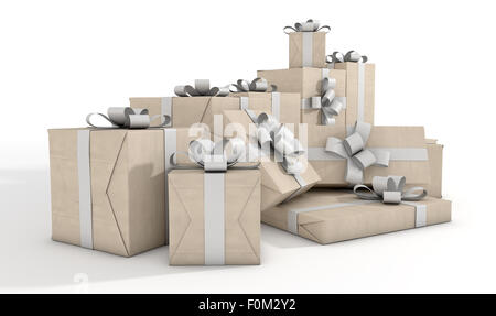 Eine verstreute Sammlung von Geschenk-Boxen verpackt in Packpapier und ein weißes Band und Bogen auf einem isolierten - Stockfoto