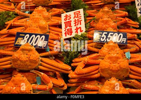 Kanou-Gani (männliche Seespinne), Omicho Markt, Kanazawa, Präfektur Ishikawa, zentralen Honshu, Japan, Asien - Stockfoto