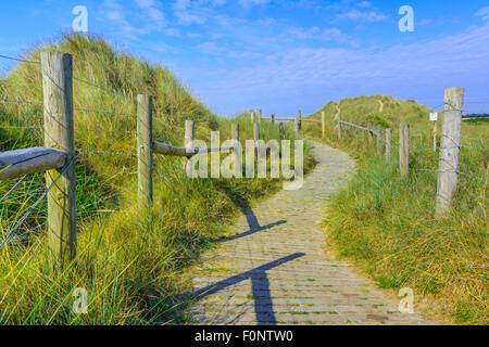 Holzweg über Sanddünen in der Nähe der West Beach in Littlehampton, West Sussex, England, UK. - Stockfoto