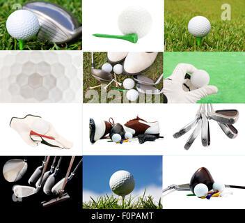 Sammlung von Golf-Bilder in eine schöne collage - Stockfoto