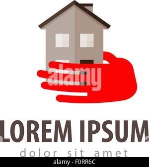 Haus-Vektor-Logo-Design-Vorlage. Bau, Gebäude oder Hotel-Symbol - Stockfoto