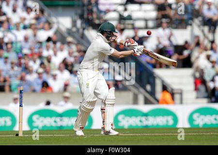 London, UK. 21. August 2015. Investec Asche 5. Test, Tag 2. England gegen Australien. Australiens Steve Smith in - Stockfoto