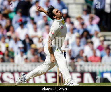London, UK. 21. August 2015. Investec Asche 5. Test, Tag 2. England gegen Australien. Australiens Mitchell Johnson - Stockfoto