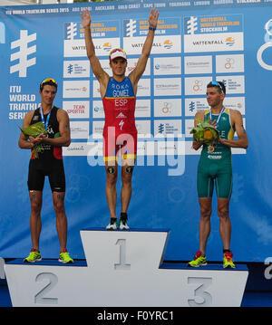 Stockholm, Schweden. 23. August 2015. Goldmedaillengewinner von Javier Gomez Noya (C) Spanien, Silbermedaillengewinner - Stockfoto