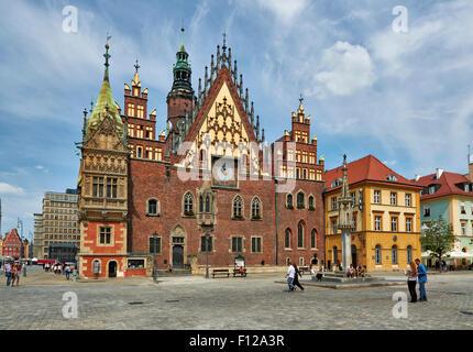 historische Rathaus am Marktplatz oder Ryneck Breslau, Niederschlesien, Polen, Europa - Stockfoto