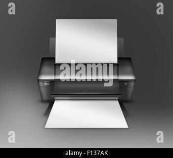 Realistische moderne Drucker auf grauem Hintergrund. Sehr detaillierte Darstellung. - Stockfoto
