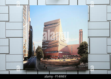Darstellung der neuen Neben der Tate Modern Art Gallery auf einem Gebäude Baustelle Horten in Bankside London UK - Stockfoto