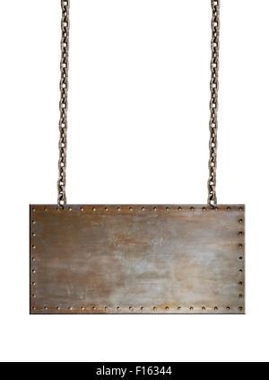 fadenscheinig rostigen Stahl-Schild mit Nieten, auf weißem Hintergrund; isoliert