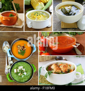 Collage-Menü verschiedene Suppen (Tomate, Kürbis, Miso, Spinat) - Stockfoto
