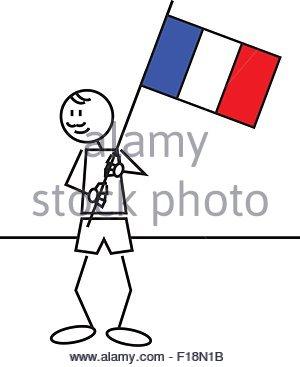 Abbildung eines jungen mit einer Fahne von Frankreich. Strichmännchen - Stockfoto