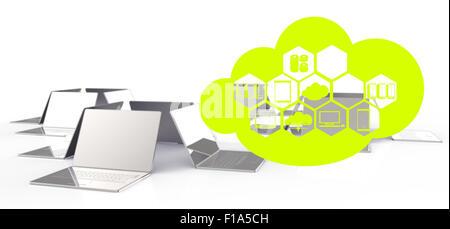 eine Cloud Computing-Diagramm auf dem neuen Computerinterface als Konzept - Stockfoto