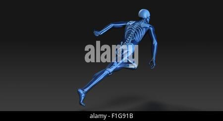3D Konzept des menschlichen männlichen Körper und Skelett laufen - Stockfoto