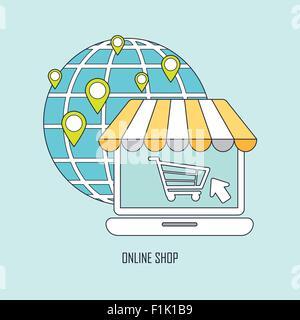 Produkt per Online-Shop-Ideen in dünne Linienstil kaufen - Stockfoto