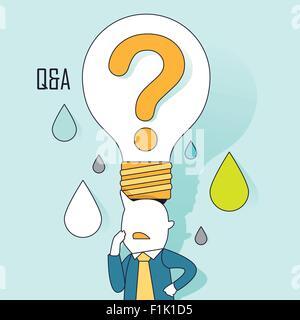 Frage und Antwort-Konzept: eine große Frage Glühbirne auf Unternehmer Kopf in Linienart - Stockfoto