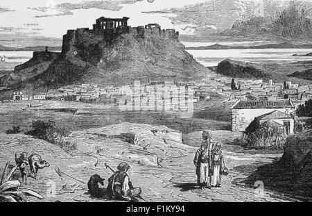 Eine Ansicht des 19. Jahrhunderts der Akropolis, eine alte Zitadelle, die auf einem felsigen Ausbiss über der Stadt von Athen liegt und die Überreste von mehreren alten Gebäuden von großer architektonischer und historischer Bedeutung enthält, das berühmteste ist das Parthenon. Es war Pericles (c. 495–429 v. Chr.) im fünften Jahrhundert v. Chr., der den Bau der wichtigsten Überreste der Stätte koordinierte, darunter der Parthenon, die Propylaea, das Erechtheion und der Tempel der Athena Nike