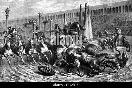 Ein Wagenrennen in einem römischen Zirkus, Rom, Italien - Stockfoto